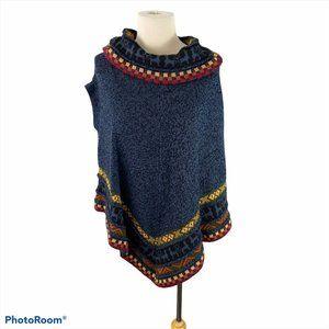 PERUVIAN ALPACA Blue Poncho